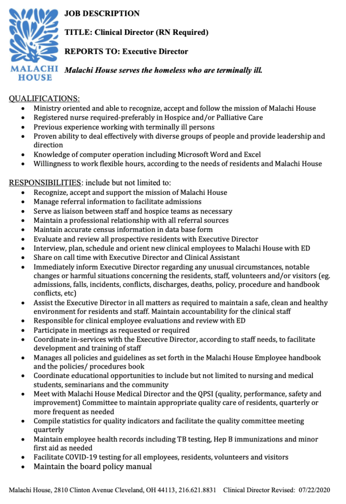 Malachi House - Job Posting Clinical Director